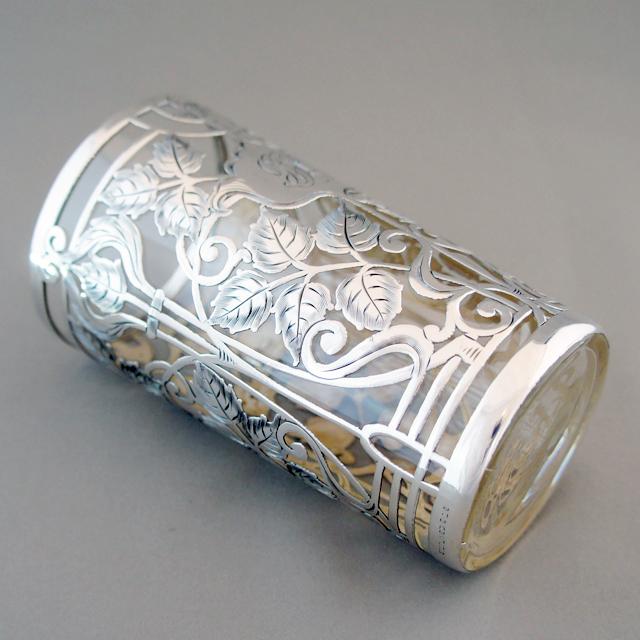 グラスウェア「銀巻き装飾 葉文様 タンブラー 高さ11cm」