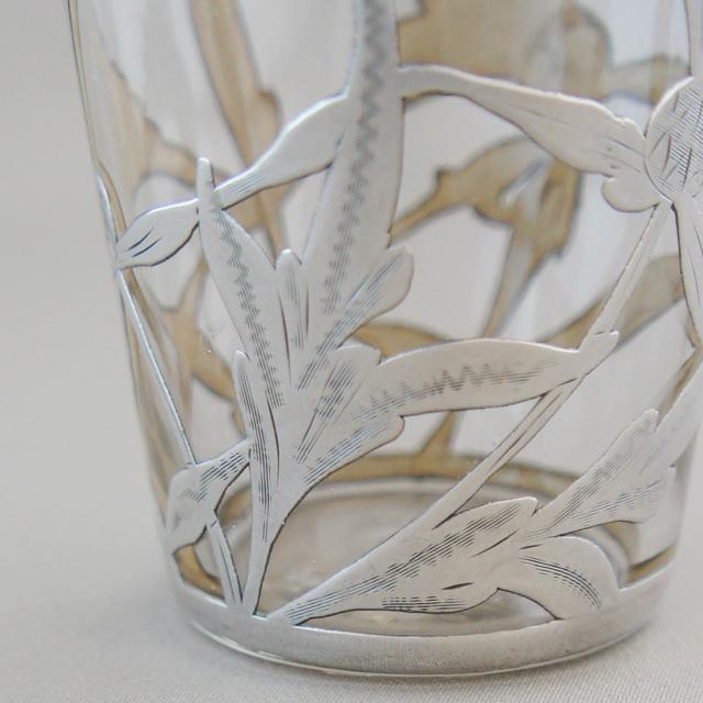 グラスウェア「銀巻き装飾 花文様 ショットグラス 高さ5.5cm」