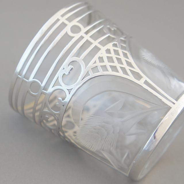 グラスウェア「銀巻き装飾 麦文様カット ショットグラス 高さ6cm」