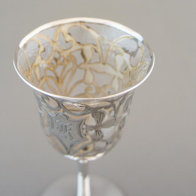 グラスウェア「銀巻き装飾 ワイングラス 高さ11.5cm(容量約50ml)」