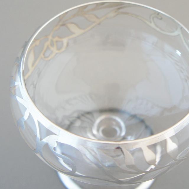 グラスウェア「銀巻き装飾 葉文様 クープ」