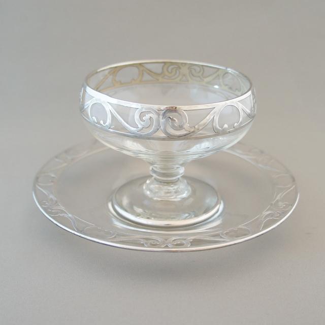 グラスウェア「銀巻き装飾 クープ&ソーサー」