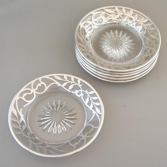 グラスウェア「銀巻き装飾 小皿 6枚セット」
