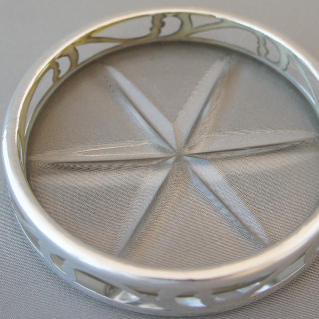 グラスウェア「銀巻き装飾 コースター 5枚セット」