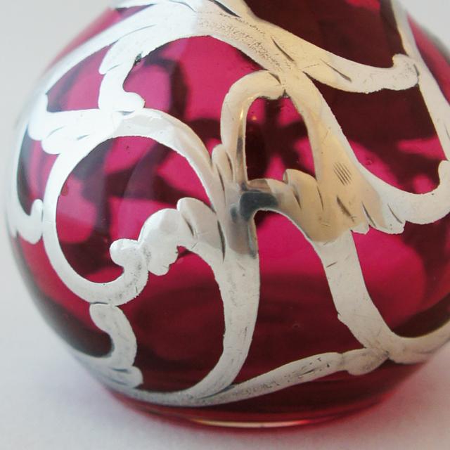 グラスウェア「銀巻き装飾 赤色ガラス 香水瓶」