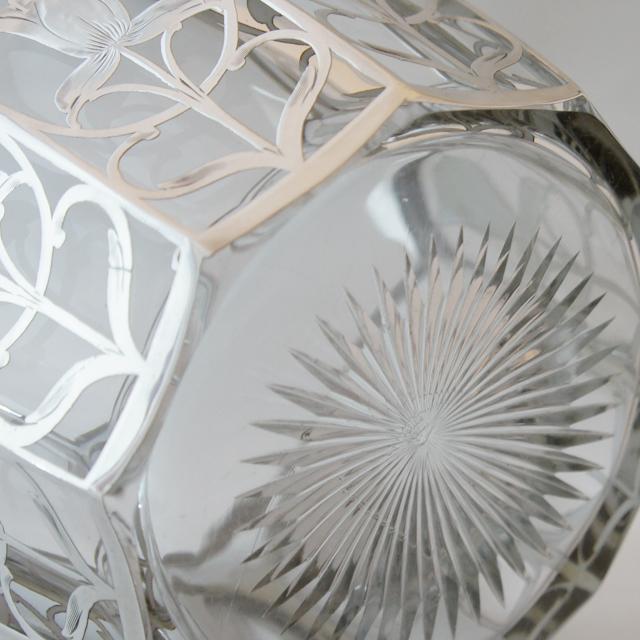グラスウェア「銀巻き装飾 花文 バスケット」