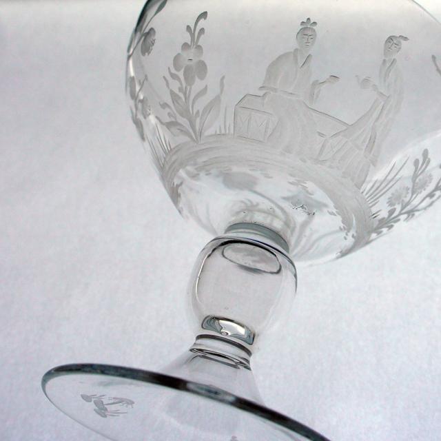 グラスウェア「シノワズリ グラヴィール装飾 クープ 高さ10cm」