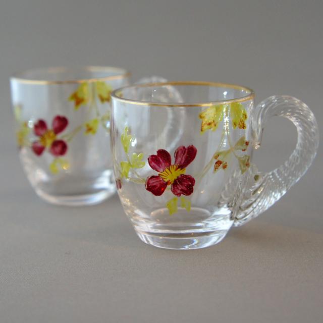 グラスウェア「エナメル装飾 花文様 リキュールセット(ボトル、グラス×2)」