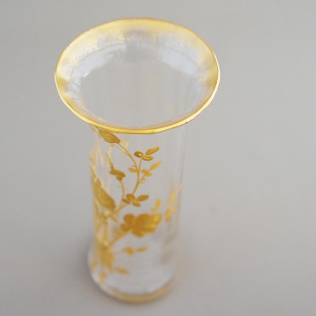 グラスウェア「金彩装飾 薔薇文様 一輪挿し」
