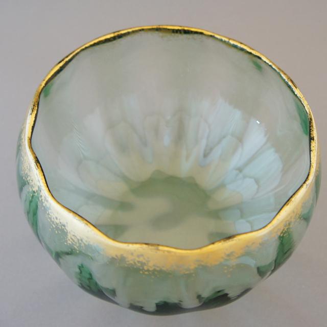 グラスウェア「緑色ガラス 金彩 鉢」