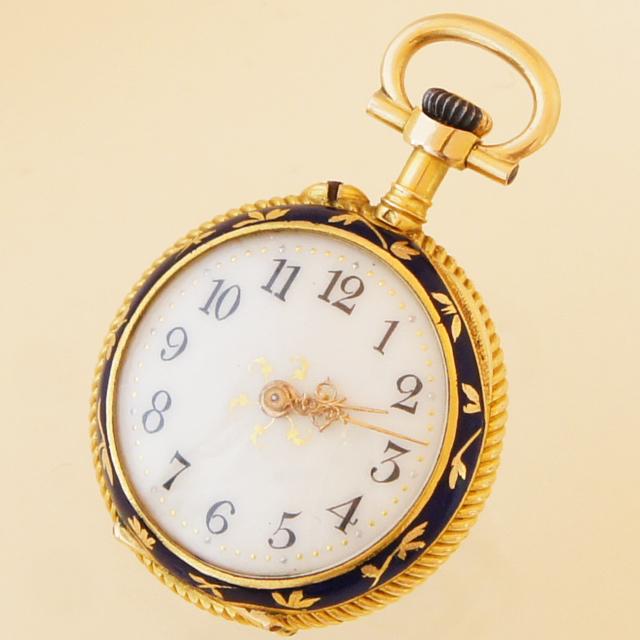 ジュエリー「ダイヤ&青エナメル 花文様 懐中時計」
