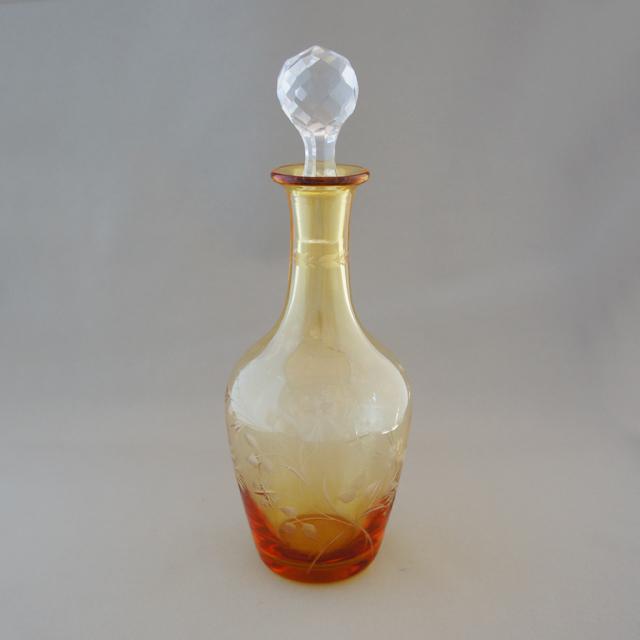 グラスウェア「アンバー色ガラス 草花文 リキュールボトル」