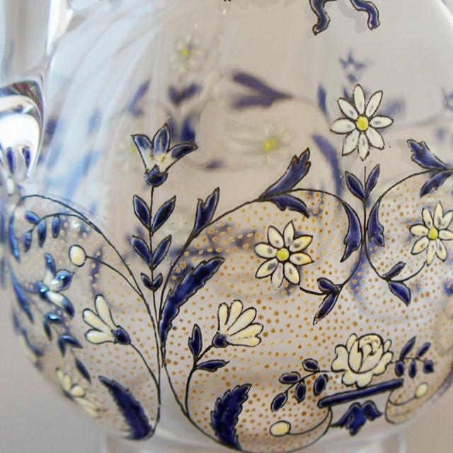 グラスウェア「エナメル彩 花文様 リキュールボトル」