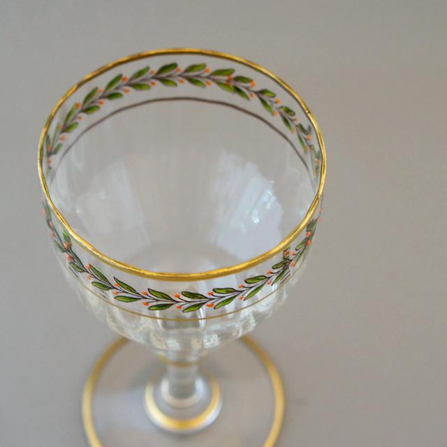 グラスウェア「エナメル彩 葉文用 ワイングラス 高さ13cm」