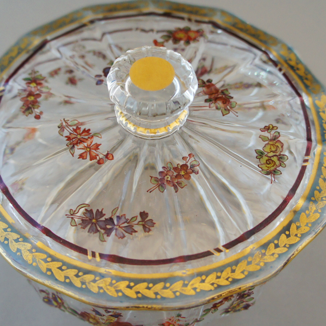 グラスウェア「金彩エナメル装飾 花文様 蓋物」