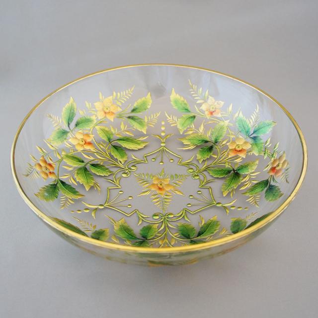グラスウェア「金彩&エナメル彩 花文様 鉢」