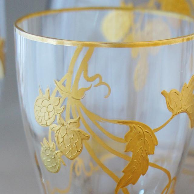 グラスウェア「金彩 野いちご文 ビールセット」