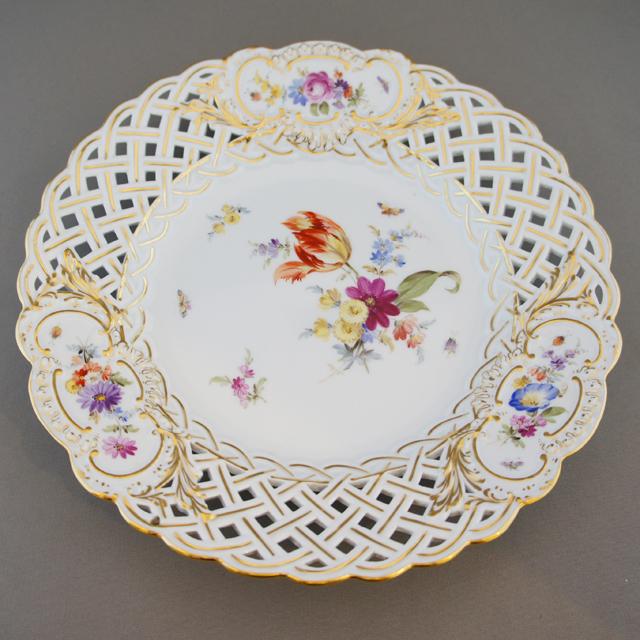 陶磁器「花文様 透かし彫り デザートプレートセット」