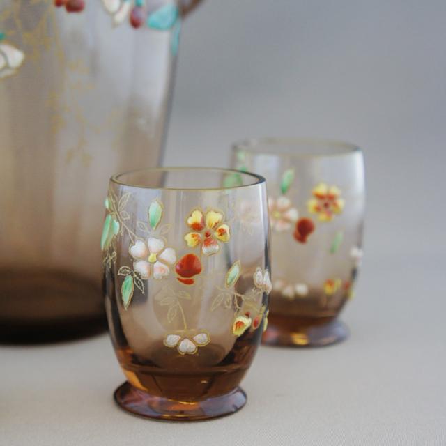 グラスウェア「アンバー色ガラス エナメル彩 リキュールセット」