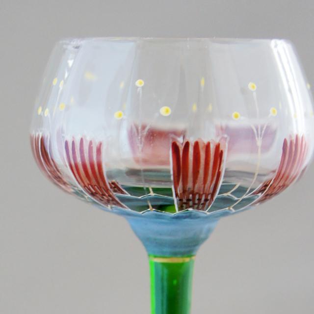 グラスウェア「エナメル装飾 花文様 リキュールグラス」