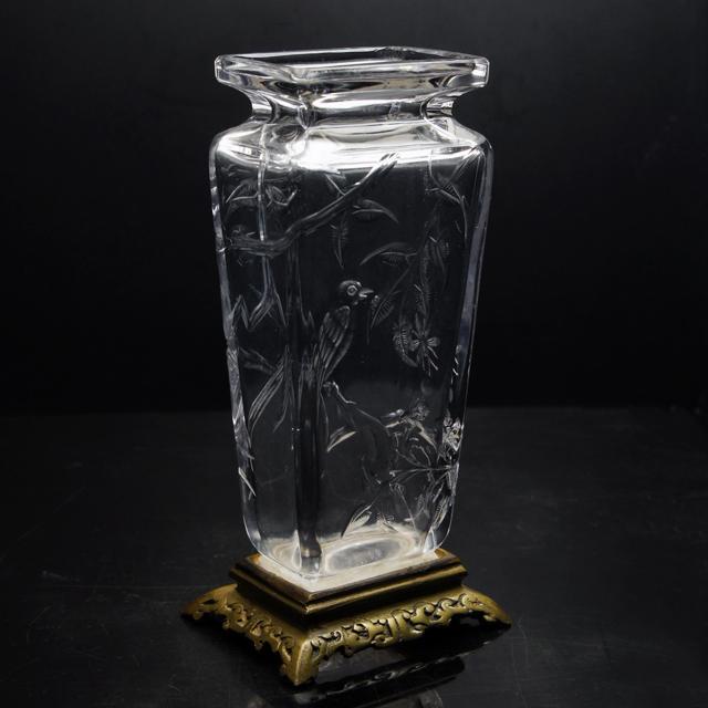グラスウェア「ジャポニズム 花鳥文 花瓶」