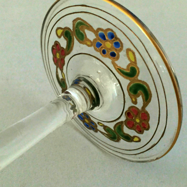 グラスウェア「エナメル装飾 イスラム文 ワイングラス」