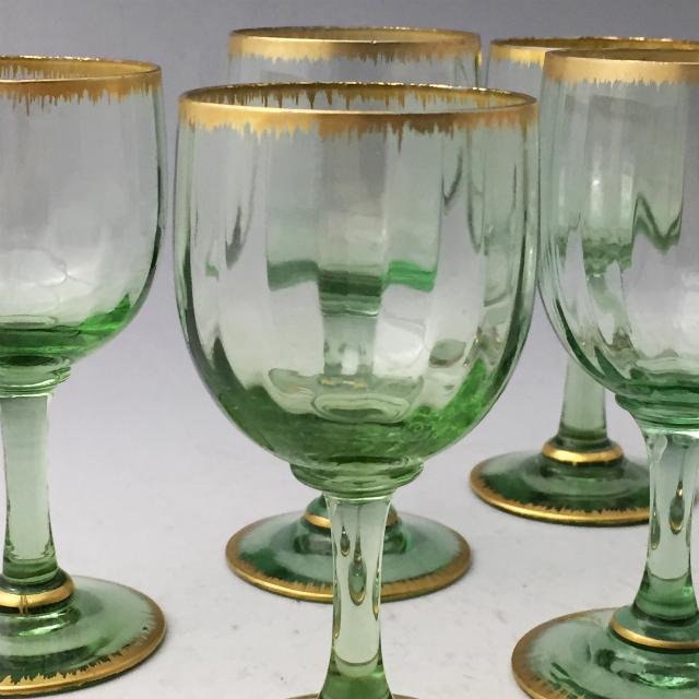 グラスウェア「金彩 グリーン ワイングラス 6客セット(小)高さ11.5cm」