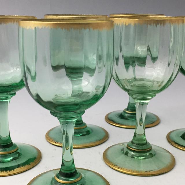 グラスウェア「金彩 グリーン ワイングラス 6客セット(大)高さ12cm」
