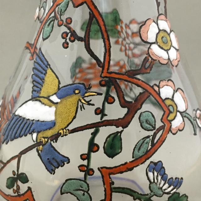 グラスウェア「ジャポニズム 花鳥文 リキュールボトル」