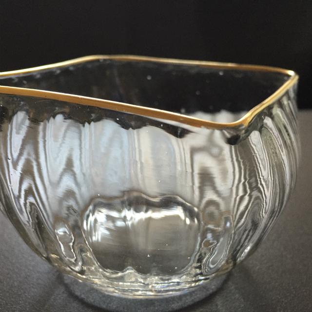 グラスウェア「金彩 角鉢(小)」