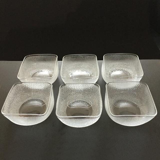 グラスウェア「エッチング地紋 角鉢 6客セット(底部エッチングなし)」