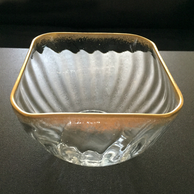 グラスウェア「金彩 角鉢(大)」