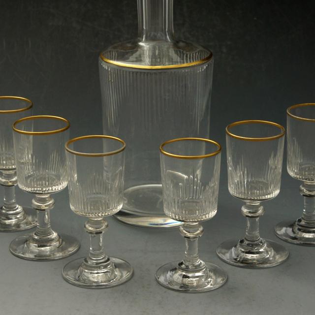 グラスウェア「カット&金彩 リキュールセット(ボトル&グラス6客)」