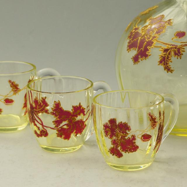 グラスウェア「ウランガラス 赤エナメル彩 リキュールセット(ボトル&グラス6客)」