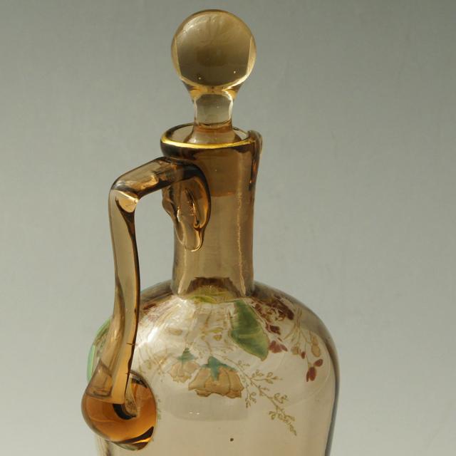 グラスウェア「アンバー色ガラス エナメル彩 リキュールボトル」
