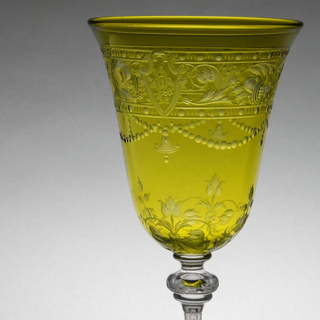 """グラスウェア「""""Model-BEAUNE"""" ワイングラス(イエローグリーン)高さ13.8cm(容量約80ml)」"""