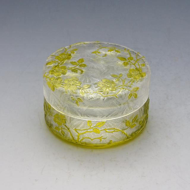 グラスウェア「エグランチェ 蓋物(黄色ガラス)」