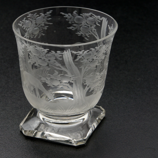 グラスウェア「Delvaux 動物風景画 ワイングラス(小)高さ7.7cm」