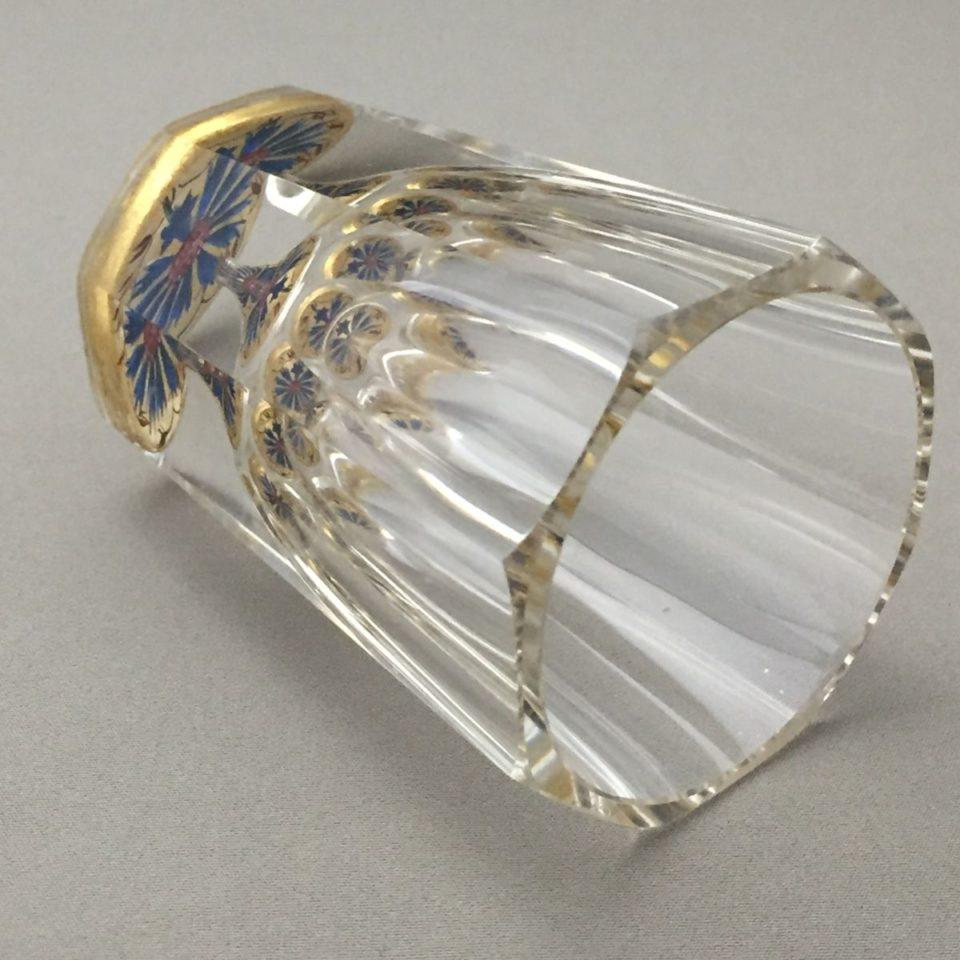 グラスウェア「矢車菊文 サンドイッチグラス 高さ7.5cm(容量約50ml)」