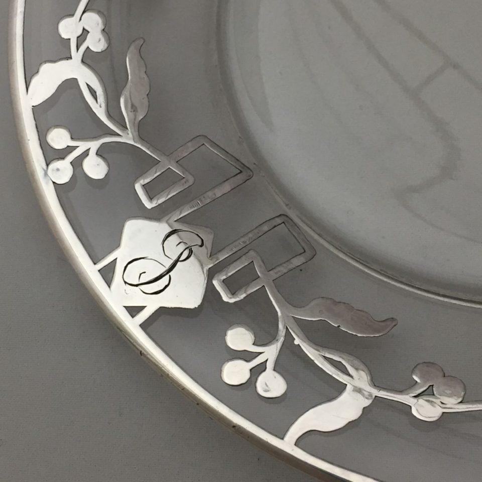 グラスウェア「銀巻き装飾 ハンドル付き ケーキ皿」
