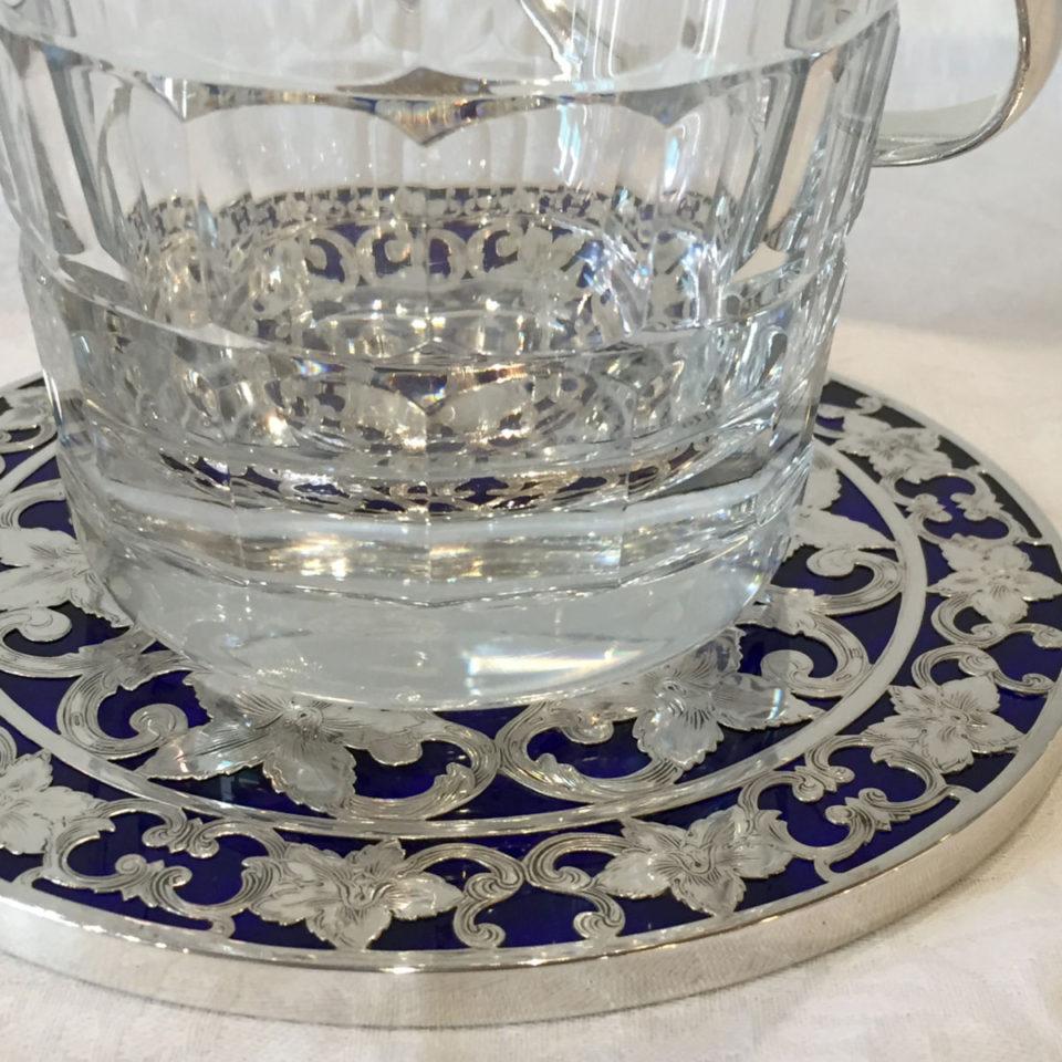 グラスウェア「銀巻き装飾 ボトルコースター 直径15cm(ブルーガラス)」