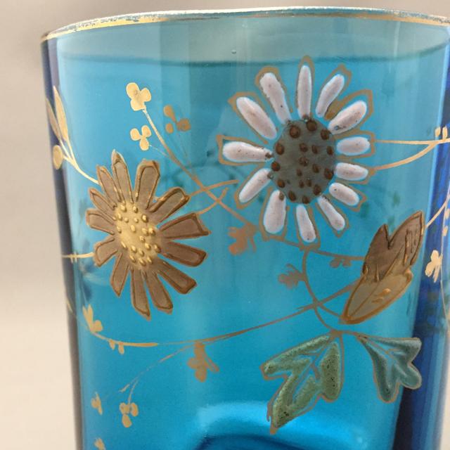 グラスウェア「ブルーガラス エナメル装飾 花文様 ゴブレット 高さ6.3cm」