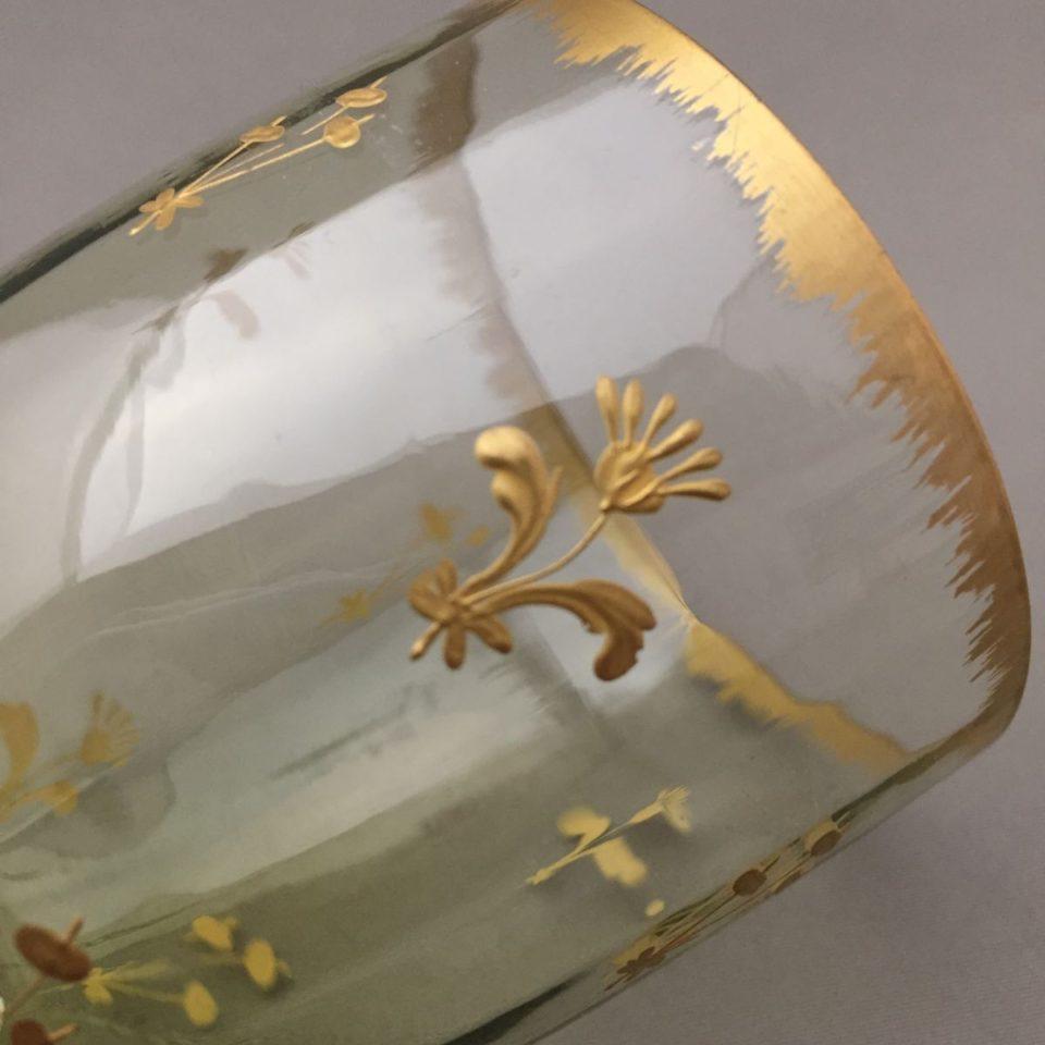 グラスウェア「グリーンガラス 金彩 ワイングラス 高さ8.5cm」