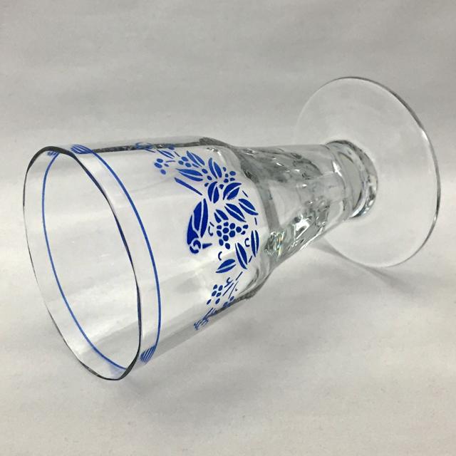 グラスウェア「ブルーエナメル 鳥文様 ワイングラス 高さ11cm(容量120ml)」