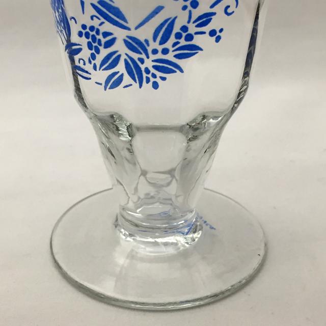 グラスウェア「ブルーエナメル 鳥文様 ワイングラス 高さ10cm(容量100ml)」