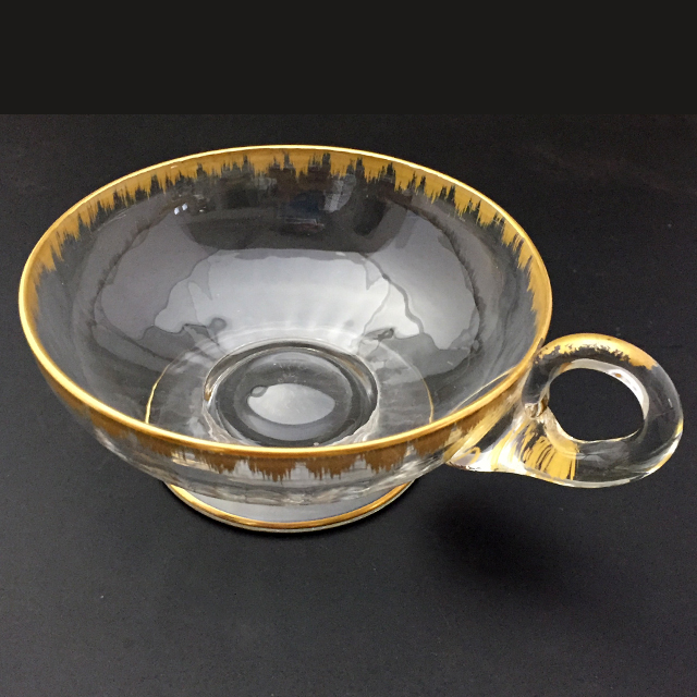 グラスウェア「金彩 ハンドル付き 小鉢 6客セット 直径9.6cm」