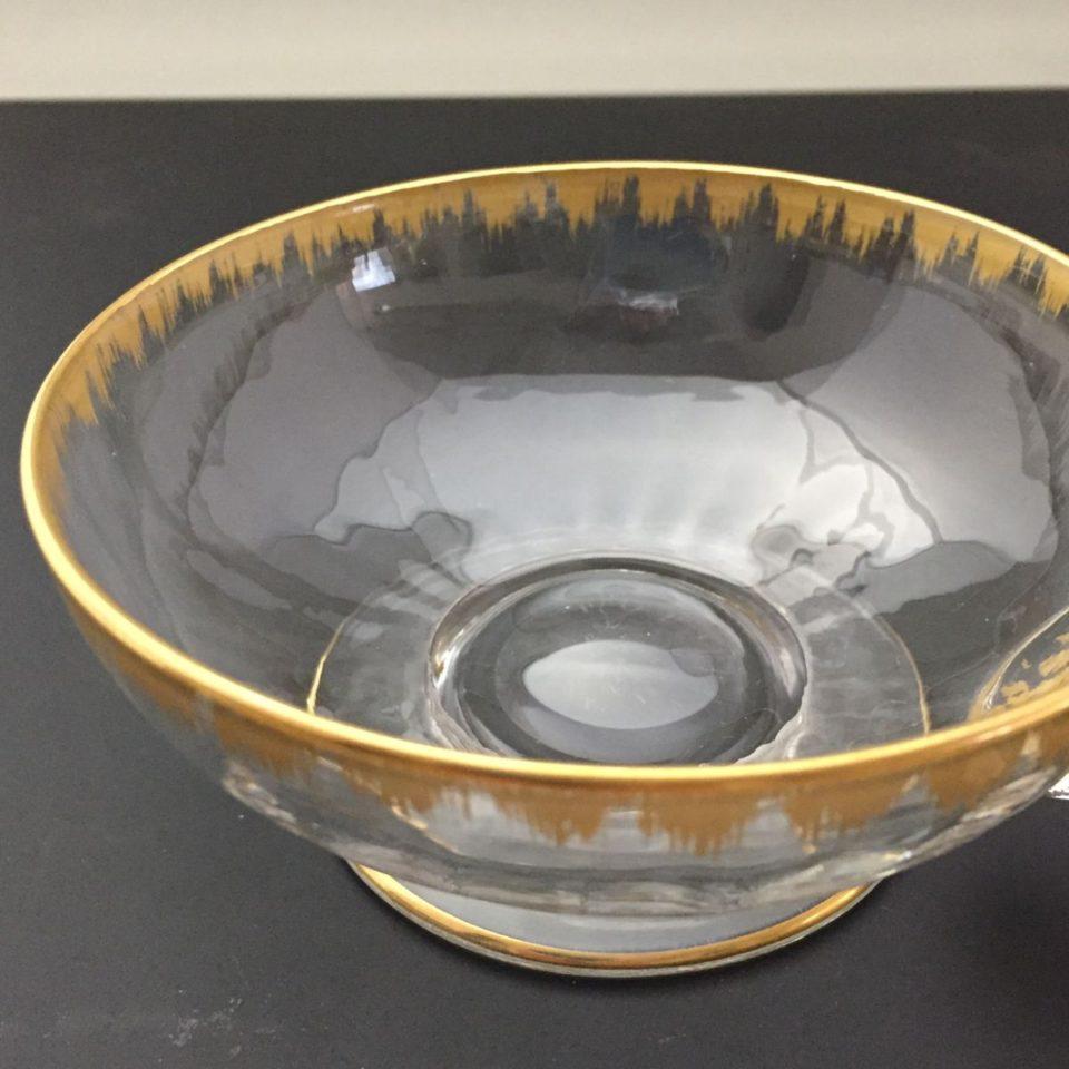 グラスウェア「金彩 ハンドル付き 小鉢 直径9.6cm」