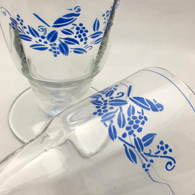 グラスウェア「ブルーエナメル 鳥文様 ウォーターグラス 高さ12cm(容量200ml)」