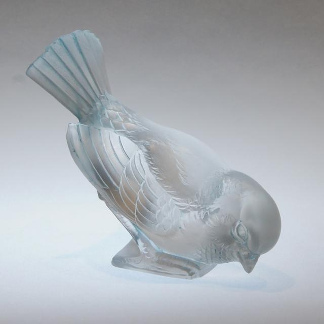 グラスウェア「ペーパーウェイト 勇ましいスズメ」