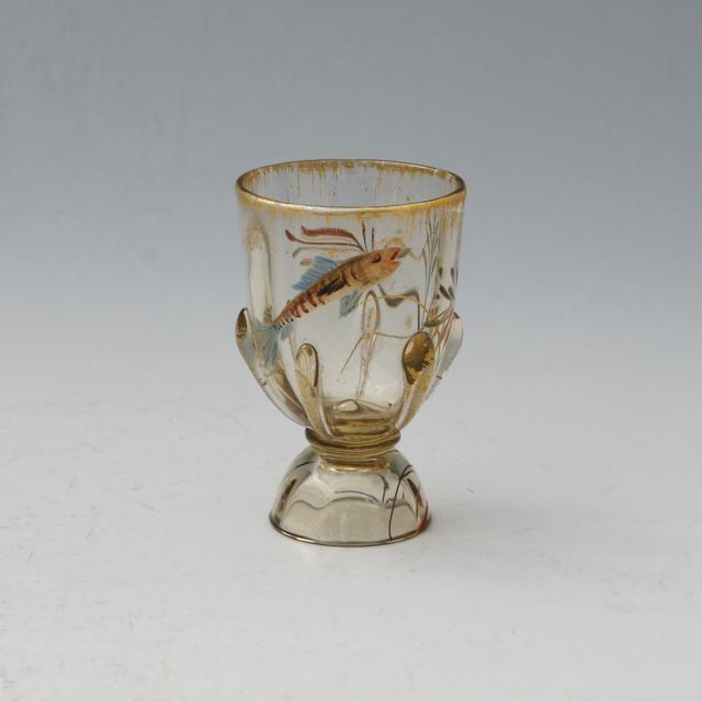 アールヌーヴォー「水景 小魚文 小酒盃 高さ6.2cm」